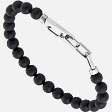 Bracelet en perles d'onyx avec fermoir mousqueton en acier inoxydable