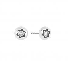 Puces d'oreilles Montblanc 4810 or blanc et diamant
