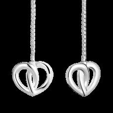 Boucles d'oreilles longues en argent Cœur de Pétales