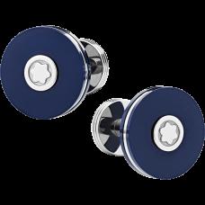 Boutons de manchette Pix ronds en acier inoxydable et résine bleue
