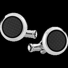 Boutons de manchette ronds en acier inoxydable avec incrustation motif carbone