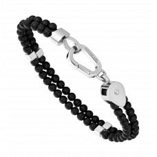 Bracelet double Wrap Me en onyx et acier